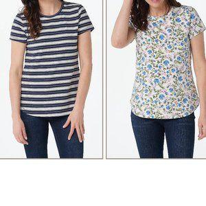 XL Isaac Mizrahi Set 2 Floral Stripe T Shirt Top